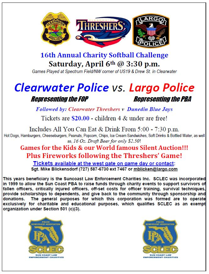 16th Annual Charity Softball Challenge April 6, 2019